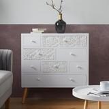 Komoda Valentina - biela/farby pínie, Moderný, drevo (85/89,5/35cm) - Modern Living