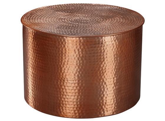 Runder Couchtisch Metall mit Ablage Rahi, Kupferfarben - Kupferfarben, LIFESTYLE, Metall (61/61/40,5cm) - Livetastic