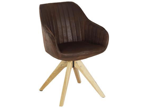 Židle S Područkami Chill - tmavě hnědá/barvy dubu, dřevo/textil (60/83/65cm) - Modern Living