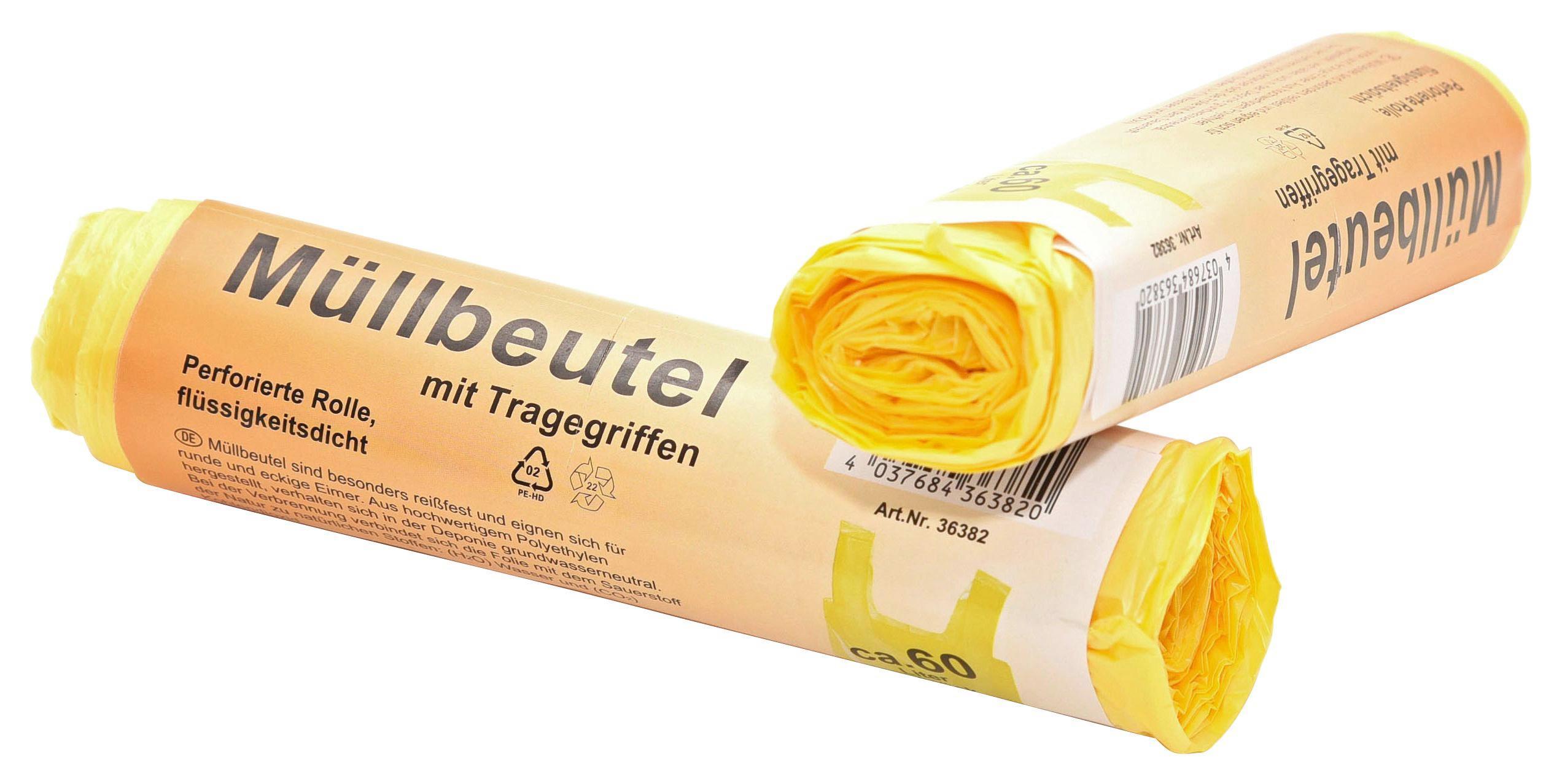 Szemeteszsák 10db - sárga, konvencionális, műanyag (3,5/16cm)