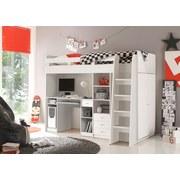 Stauraumbett Unit 90x200 inkl. Schreibtisch und Leiter - Weiß, MODERN (204/160/124cm) - MID.YOU
