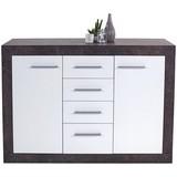 Komoda Sideboard Iguan - bílá/tmavě šedá, Moderní, dřevěný materiál (120,2/85,1/34,8cm)