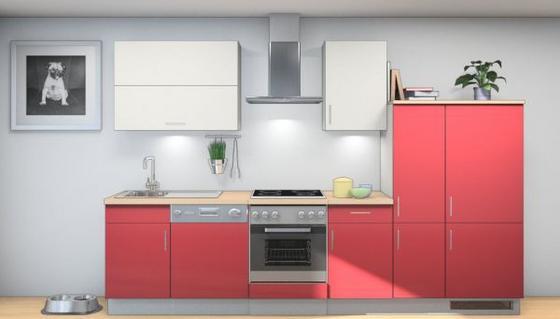 Küchenblock Tina 320 cm Rot/Weiß - Rot/Weiß, MODERN, Holzwerkstoff (320cm) - Vertico