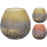 Teelichtglas Tian - Creme/Orange, LIFESTYLE, Glas (10/10cm)