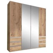 Drehtürenschrank mit Spiegel + Laden 200cm Level 36a, Eichen - Eichefarben, MODERN, Glas/Holzwerkstoff (200/216/58cm) - MID.YOU