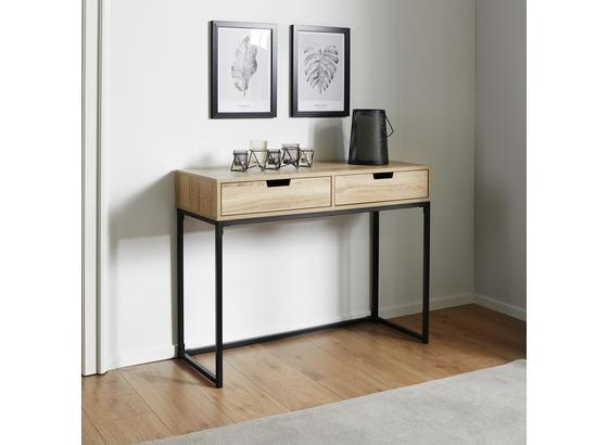 Konzolový Stolík Lotte - farby dubu/čierna, Moderný, kov/drevo (100/76/38cm) - Mömax modern living