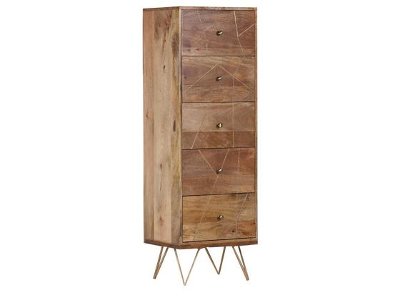 Highboard Scan B: 50 cm - Goldfarben/Naturfarben, Design, Holz/Metall (50/153/43cm)