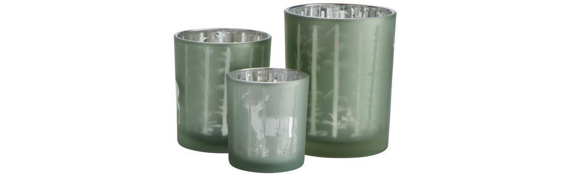 Grüner Teelichthalter aus Glas