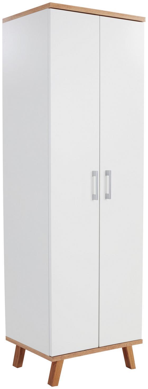 Schuhschrank Rivoli 60cm Weiß/eiche Dekor - Eichefarben/Weiß, KONVENTIONELL, Holzwerkstoff (60/180/35,5cm)