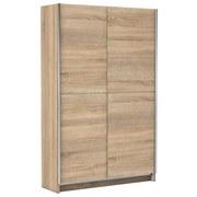Schwebetürenschrank 125cm Slim, Eiche Dekor - Eichefarben, Basics, Holzwerkstoff (125/195,5/38cm) - P & B