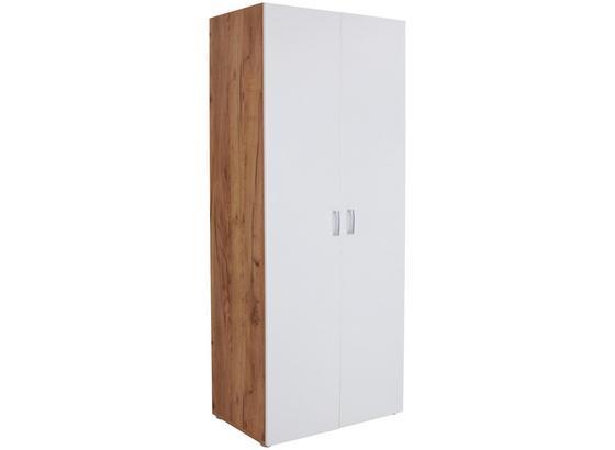 Skriňa Tio - farby dubu/biela, Konvenčný, kompozitné drevo (80/183/37,5cm)