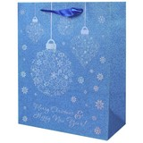 Geschenktasche Jingle Bells L - Blau/Rot, Basics, Karton (26/32/12cm)