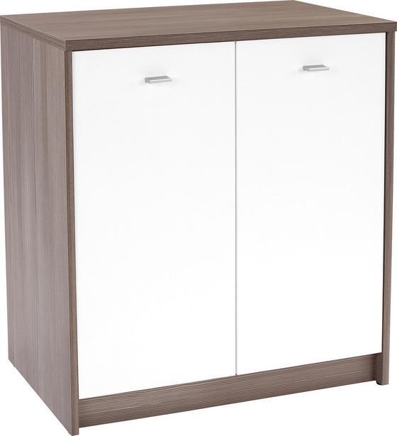 Komoda 4-you Yuk03 - bílá/tmavě hnědá, Moderní, dřevěný materiál (74/85,4/34,6cm)