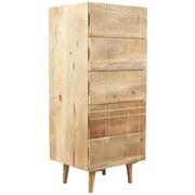 Highboard Mango B:45cm Mangoholz Dekor - Naturfarben/Weiß, KONVENTIONELL, Holz/Holzwerkstoff (45/110/40cm)