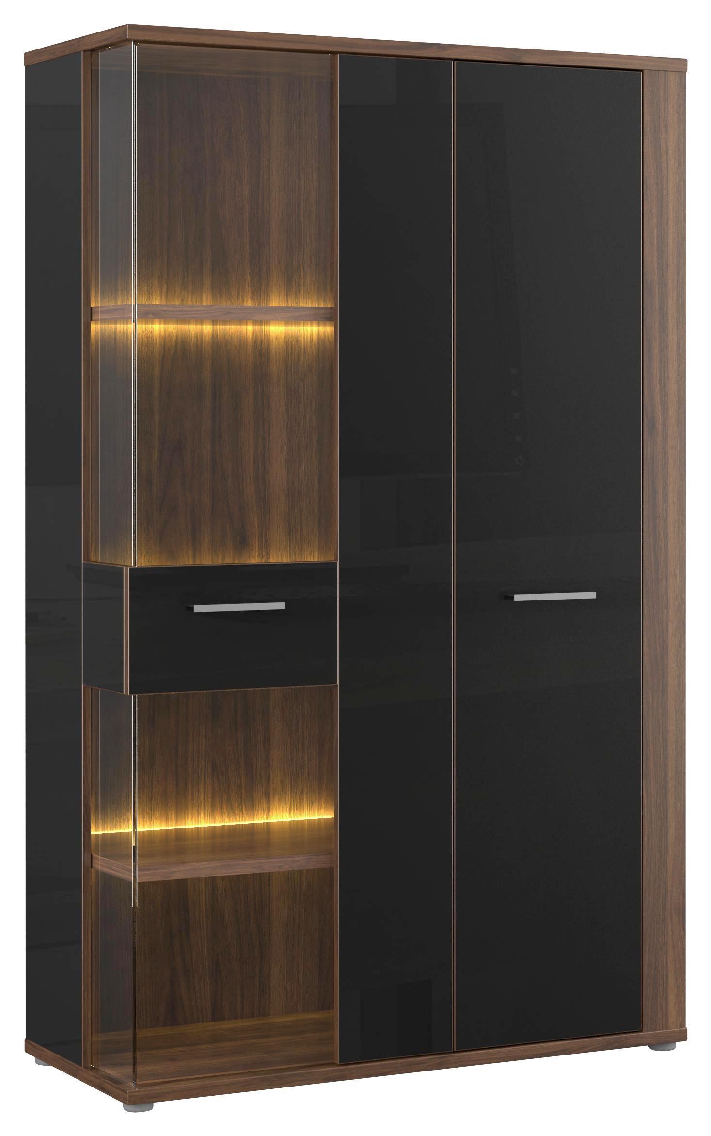 Vitrin Lombardo - fekete/diófa színű, konvencionális, műanyag/üveg (98,2/159,9/41,3cm)