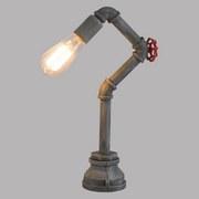Tischlampe Grau Metall In Wasserrohroptik - Grau, MODERN, Metall (21/10/43,5cm)