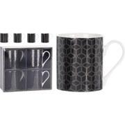Tassenset 4-Tlg. Schwarz - Goldfarben/Schwarz, Basics, Keramik (6,5/7,5cm)