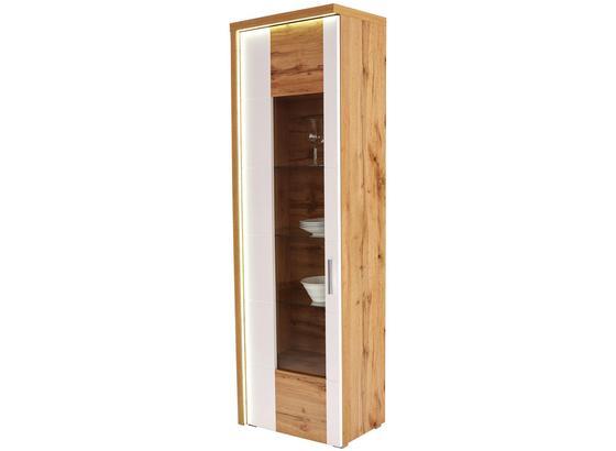Vitrína Eleganza - farby dubu/biela, Moderný, kompozitné drevo/sklo (65/201,3/38cm)