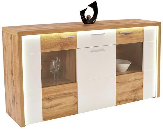 Komoda Sideboard Eleganza - bílá/barvy dubu, Moderní, dřevěný materiál/sklo (179,9/87.3/38cm)