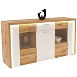 Sideboard Eleganza B:180cm Wotan Eiche Dekor/ Weiß - Eichefarben/Alufarben, MODERN, Glas/Holzwerkstoff (179,9/87.3/38cm)