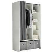 Kleiderschrank Jenke Weiß/Grau B: 100 cm - Weiß/Grau, Basics, Karton/Holzwerkstoff (100/180/50cm) - MID.YOU