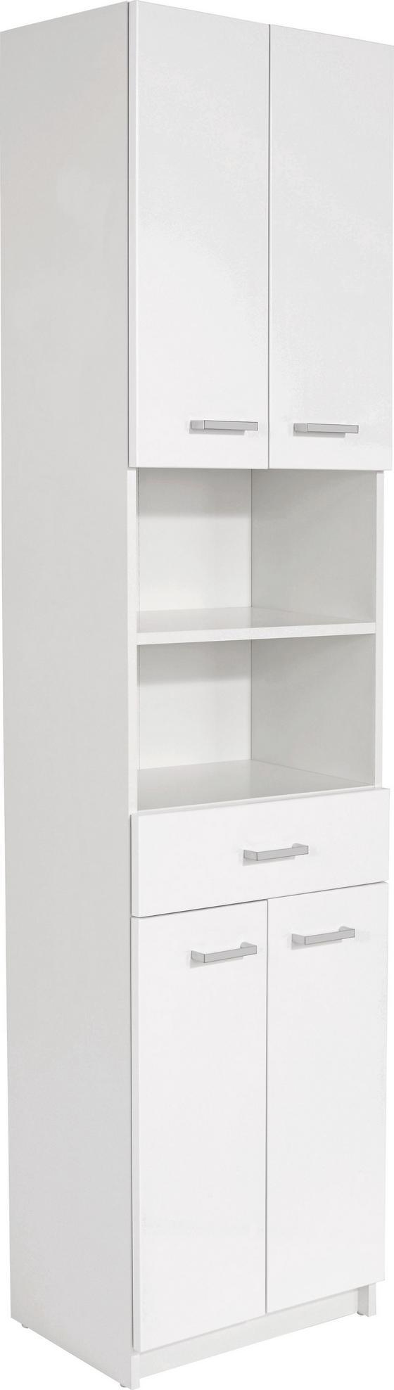 Vysoká Skříň Fiola - bílá, Konvenční, dřevěný materiál (50/192/33,5cm)