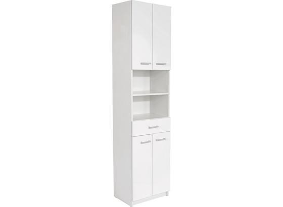 Vysoká Skriňa Fiola - biela, Konvenčný, kompozitné drevo (50/192/33,5cm)