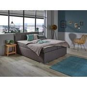 Boxspringbett Nero Liegefläche ca. 160x200cm - Chromfarben/Braun, KONVENTIONELL, Textil (160/200cm)