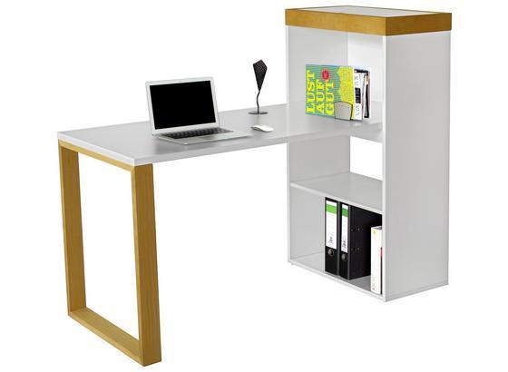 Písací Stôl Organizer - prírodné farby/biela, Štýlový, kov/drevo (140/114/63,8cm) - Premium Living