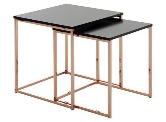 Beistelltisch 2er-Set Cal Matt Schwarz + Kuperfarben - Schwarz/Kupferfarben, Design, Holzwerkstoff/Metall (40/42/40cm) - Livetastic