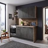 Küchenblock Santiago B: 204 cm Schwarzbeton - LIFESTYLE, Holzwerkstoff (204cm) - Vertico