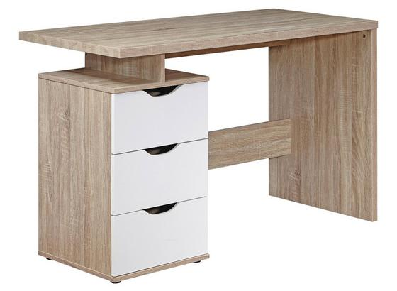 Schreibtisch mit Stauraum B 120cm H 76cm Samo, Eiche - Weiß/Sonoma Eiche, MODERN, Holzwerkstoff (120/76/53cm) - Livetastic