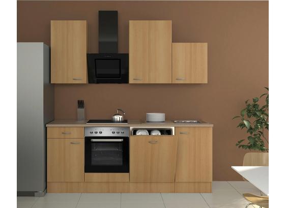 Küchenblock Nano 220cm Buche - Edelstahlfarben/Buchefarben, MODERN, Holzwerkstoff (220/60cm)