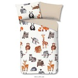 Bettwäsche Zoo 140/200cm Multicolor/Tiere - Multicolor, Basics, Textil (140/200cm)