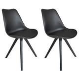 Stuhl-Set Kaja 2-er Set Schwarz - Schwarz, Design, Kunststoff/Textil (48/86/55,5cm) - MID.YOU