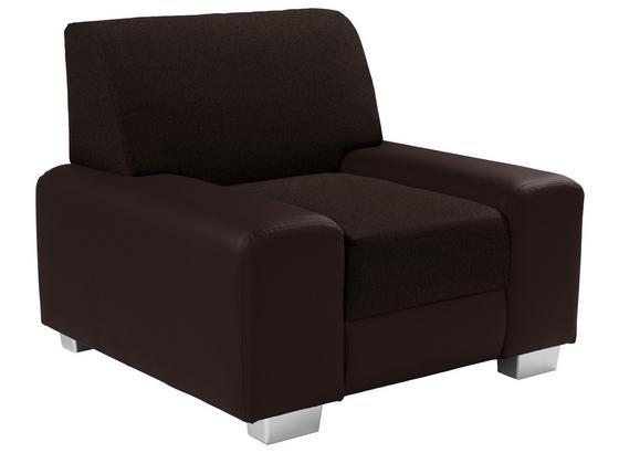 Křeslo Miami - tmavě hnědá/hnědá, Moderní, kov/dřevo (104/81/90cm)