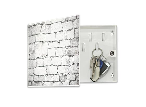 Schlüsselkasten Mauer - Weiß, MODERN, Metall (28/19/4cm)