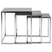 Beistelltisch 3er-Set Cross, Glasplatte Schwarz + Chrom - Chromfarben/Schwarz, Design, Glas/Metall (50/50/55cm) - Carryhome