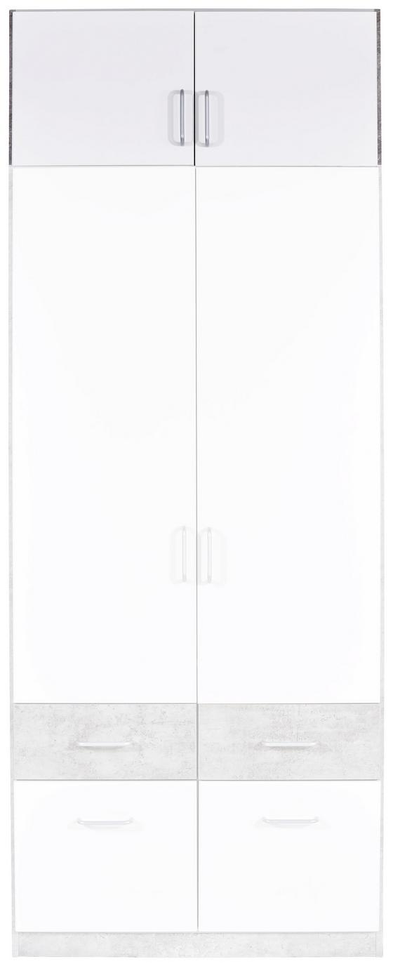 Nástavec Na Skříň Aalen-extra - bílá/šedá, Konvenční, dřevěný materiál (91/39/54cm)