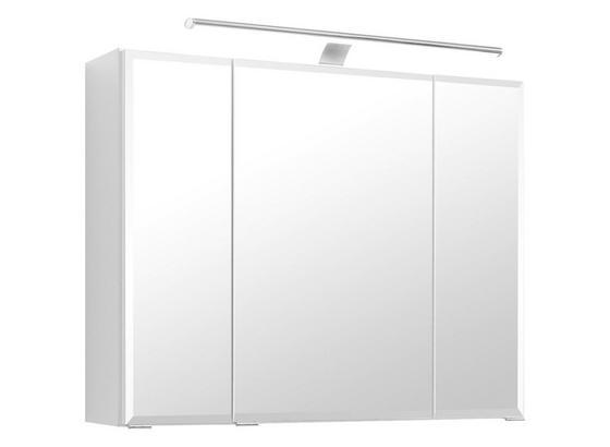 Spiegelschrank Belluno B:80 cm Weiß - Weiß, Basics, Glas/Holzwerkstoff (80/64/20cm)