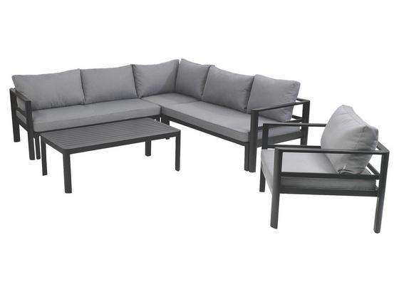 Loungegarnitur Levante 5-teilig inkl. Kissen - Anthrazit/Grau, MODERN, Metall (220/220cm) - Greemotion