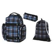 Schultaschenset Cross Blue 3-teilig - Blau/Schwarz, MODERN, Textil (32/44/22cm) - Walker