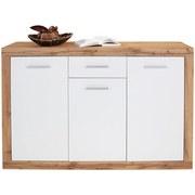 Kommode Mallorca B:132cm Wildeiche Dekor/Weiß - Eichefarben/Silberfarben, MODERN, Holzwerkstoff (132/90/35cm)