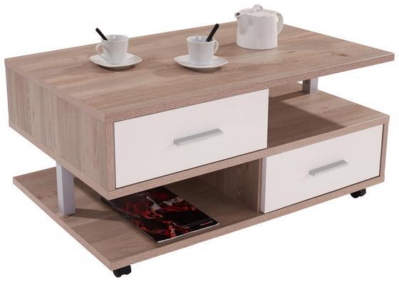 Dohányzóasztal Quattro - Tölgyfa/Fehér, konvencionális, Faalapú anyag (105/45/60cm)