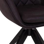 Drehstuhl Bellini Schwarz Gepolstert mit Armlehnen - Schwarz, MODERN, Holz/Textil (60/88/57,5cm) - MID.YOU