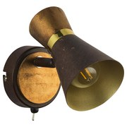 Spotleuchte Rada - Rostfarben/Goldfarben, MODERN, Holz/Metall (8,5/13,5/13,5cm)
