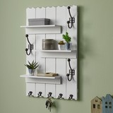 Nástěnný Věšák Lola - bílá, Moderní, kov/dřevo (50/80/13cm) - Modern Living