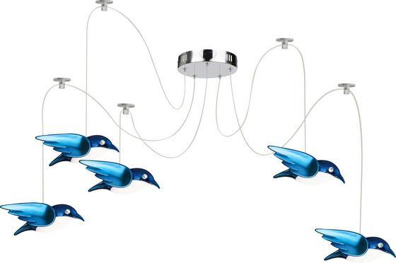 LED-Deckenleuchte Vogel Blau - Blau, MODERN, Kunststoff/Metall (20cm)