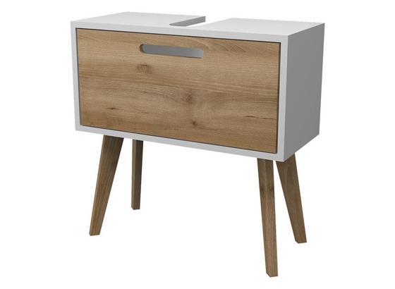 Waschtischunterschrank Malmö 60 cm Weiß/buche Dekor - Buchefarben/Weiß, Basics, Holzwerkstoff (60/62/35cm)