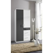 Drehtürenschrank mit Laden 90cm Click, Weiß/Graphit - Graphitfarben/Weiß, Design, Holz/Holzwerkstoff (90/199/58cm) - MID.YOU